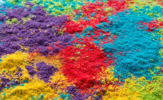 Colored powder, abstract background, close-up.